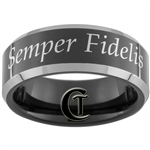 8mm Black Beveled Two-Toned Tungsten Marines Eagle, Globe and Anchor Semper Fidelis Designed Ring