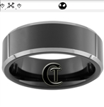 8mm Black Beveled Two-Toned Tungsten Carbide Custom Design