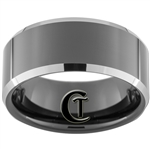 10mm Black Beveled Two-Toned Tungsten Carbide Ring