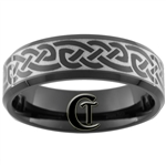 **Clearance** 7mm Black Beveled Tungsten Carbide Celtic Design - Sizes 6, 10 1/2, 15