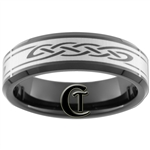 **Clearance** 7mm Black Beveled Tungsten Carbide Celtic Design - Sizes 12 1/2