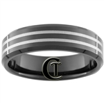 **Clearance** 7mm Black Beveled Tungsten Carbide Laser Line Design - Limited Sizes - 5.5