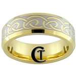 **Clearance** 7mm Gold Beveled Tungsten Carbide Celtic Design - Limited Sizes