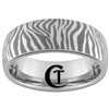 **Clearance** 8mm Dome Tungsten Carbide Zebra Design  - Sizes 10 1/2