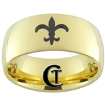 **Clearance** 9mm Gold Dome Tungsten Carbide Fleur De Lis Design - Sizes 5 1/2