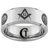 10mm Beveled Tungsten Carbide NAVY Crest and Masonic Square & Compass Design.