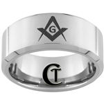 **Clearance** 10mm Beveled Tungsten Carbide Satin Finish Masonic Design - Size 8 1/2
