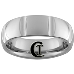 **Clearance** 7mm Side Grooved Dome Tungsten Carbide Ring - Sizes 6 1/2, 7 1/2, 8, 8 1/2
