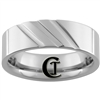 **Clearance** 7mm Horizontal Grooved Pipe Tungsten Carbide Ring -Limited Sizes - 8