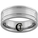 *Clearance** 8mm Pipe 2-Grooved Tungsten Carbide Ring - Sizes 5, 5 1/2, 6, 11, 11 1/2, 12 1/2, 13 1/2