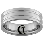 *Clearance** 7mm Pipe 2-Grooved Tungsten Carbide Ring - Sizes 8, 9