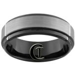 **Clearance** 7mm 1 Step Black Beveled Tungsten Carbide Satin Finish Ring - Size 8