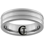 **Clearance** 7mm Piped 2-Grooved Tungsten Carbide Ring - Size 9 1/2