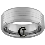 **Clearance** 8mm Beveled 3-Grooved Tungsten Carbide Ring - Size 8 1/2