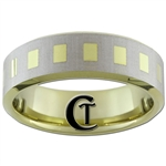 **Clearance** 7mm Beveled Gold Tungsten Carbide Lasered Design - Size 9