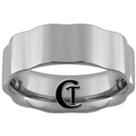**Clearance** 8mm Waved Pipe Tungsten Carbide Ring - Size 8 1/2, 9, 11, 11 1/2