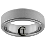 **Clearance** 7mm 1-Step Pipe Machined Center Tungsten Carbide Ring - Size 9