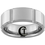 **Clearance** 8mm Side Grooved Beveled Tungsten Carbide Ring -Limited Sizes