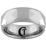 **Clearance** 8mm Beveled Tungsten Carbide Faceted Design - Sizes 8, 8 1/2