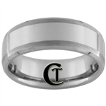 **Clearance** 8mm Satin Side Beveled Tungsten Carbide Ring - Sizes 9, 11, 11 1/2