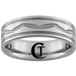 **Clearance** 7mm Piped 2-Grooved w/ Middle Cut Design Tungsten Carbide Ring - Size 10
