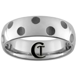 **Clearance** 7mm Side Cut Enameled Grooves Dome Tungsten Carbide Ring - Size 10