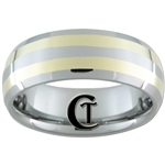 **Clearance** 8mm Double Bevel 2-Gold Lines Tungsten Carbide Ring- Sizes 9, 11, 12