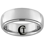 **Clearance** 8mm 1-Step Dome Tungsten Carbide Ring -Sizes 7, 9 1/2