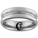 **Clearance** 7mm Concave Pipe Tungsten Carbide Ring - Sizes 9, 9 1/2, 10