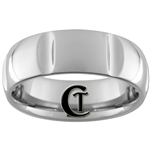 **Clearance** 8mm Side Grooved Dome Tungsten Carbide Ring -Limited Sizes 8 1/2, 9, 12