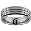 **Clearance** 7mm Beveled 3-Grooved Tungsten Carbide Ring -Limited Sizes - 8.5
