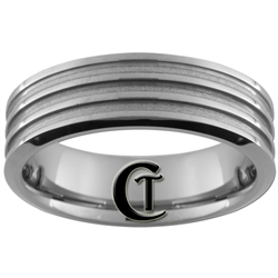 **Clearance** 7mm Beveled 3-Grooved Tungsten Carbide Ring -Limited Sizes
