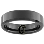 **Clearance** 6mm Black Beveled Tungsten Carbide Ring -Size 10