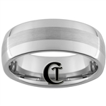 8mm Dome With Satin Finish Center Tungsten Carbide Band Ring