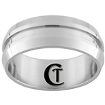 8mm Dome Middle Grooved Stainless Steel Ring - Limited Sizes