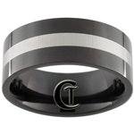 10mm Black Pipe Stainless Steel Laser Line Design Ring - Sizes 12 1/2
