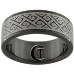 8mm Black Pipe Stainless Steel Celtic Design Ring - Sizes 7 1/2, 9, 10