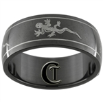 8mm Black Dome Stainless Steel Gecko Design Ring - Sizes 6, 8 1/2, 9, 10, 11