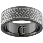 8mm Black Pipe Stainless Steel Lasered Design Ring - Sizes 9, 10
