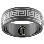 8mm Black Dome Stainless Steel Celtic Design Ring - Sizes 7 1/2, 8 1/2, 9, 10