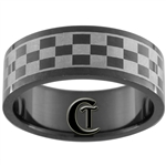 8mm Black Pipe Stainless Steel Checkered NASCAR Design Ring - Limited Sizes
