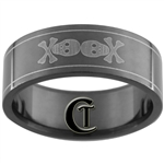 8mm Black Pipe Stainless Steel Skull Design Ring - Sizes 8 1/2, 9 1/2, 10, 11