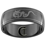 8mm Black Dome Stainless Steel Dragon Design Ring - Size 12