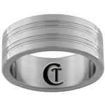8mm Pipe 4-Grooved Stainless Steel Satin Finished Ring - Limited Sizes