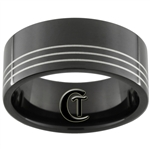 9mm Black Pipe Stainless Steel 3-Laser Lines Design Ring - Limited Sizes