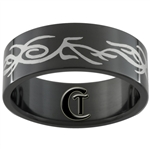 8mm Black Pipe Stainless Steel Branch Design Ring - Limited Sizes