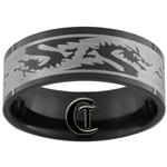 8mm Black Pipe Stainless Steel Dragon Ring
