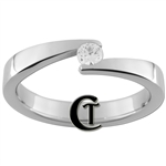 4mm Pipe w/ CZ Stainless Steel Wedding Ring - Limited Sizes