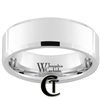 8mm Beveled White Tungsten Carbide Polished Ring