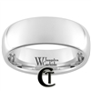 8mm Dome White Tungsten Carbide Polished Ring